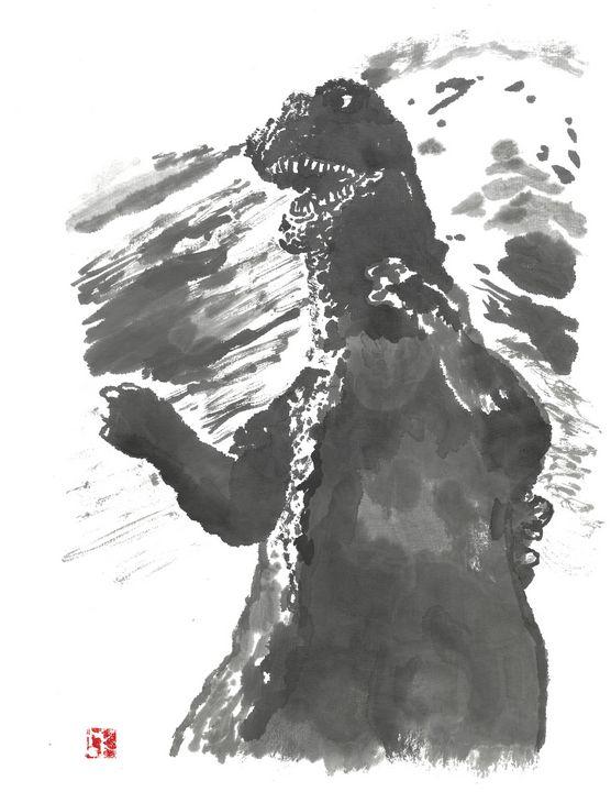 Godzilla 68 sumi-e' - Mike's Kaiju Art Gallery