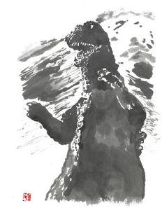 Godzilla 68 sumi-e'