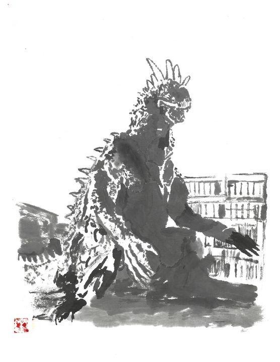 Varan sumi-e' - Mike's Kaiju Art Gallery