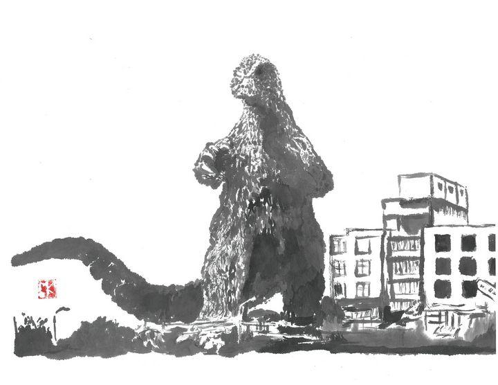 Godzilla 64 Sumi-e' - Mike's Kaiju Art Gallery