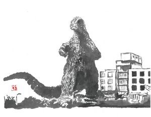 Godzilla 64 Sumi-e'