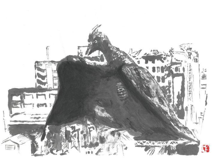 Rodan sumi-e' - Mike's Kaiju Art Gallery