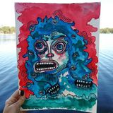 Screaming lady watercolor