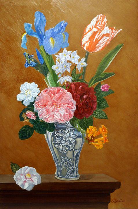 Flowers in a silver vase - Gianrico Gualtieri