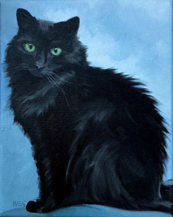 Pet Portrait Example Black Cat - RKIves
