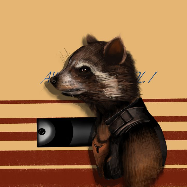 Rocket   Raccoon Drawing - Wallflower Workshop Art