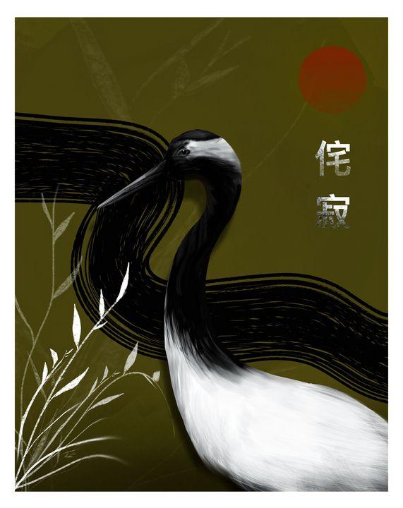 Red-Crowned Crane - Wallflower Workshop Art