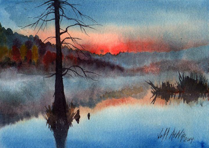 Morning Mist on Wall Doxey Pond - Jeff Atnip Art