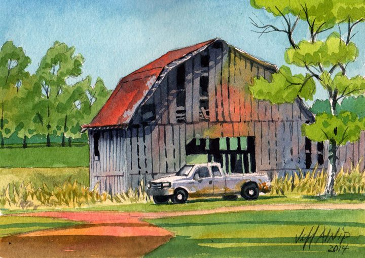 Barn and Truck - Jeff Atnip Art