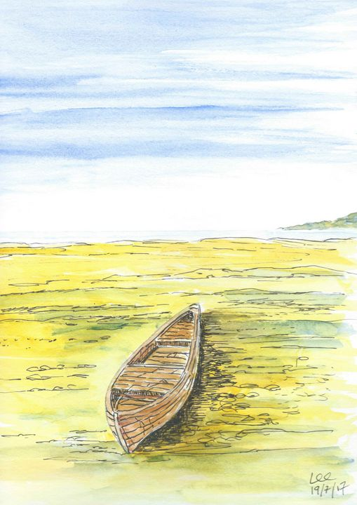 old washed up rowing boat - FarraSpace