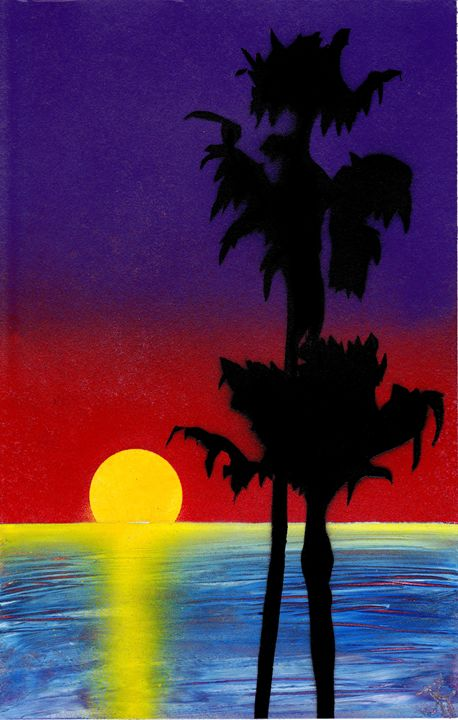 Red Sunset Palms - Jushe's Creations