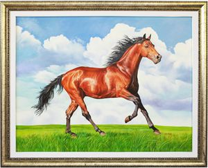 A Masterpiece Brown Horse Oil Painti
