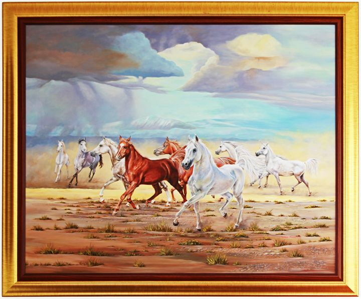 The 8 Horses Acrylic Painting on Can - Thana The Horseman