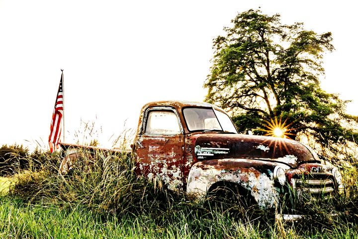 Rusty Old Farm Truck Summer Sunset - Studio 623 Photography