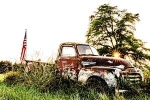Rusty Old Farm Truck Summer Sunset