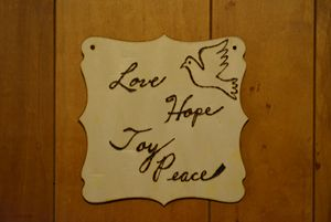 """Love, Hope, Joy, Peace"" Plaque"