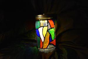 Mason Jar Stained Glass LED Lamp