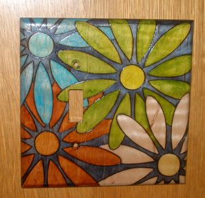 Hippie Boho Flower wood switchplate