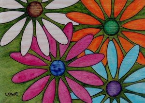 Psychedelic Flowers on Wood Painting