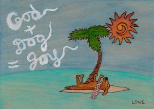 God + Dog = Joy Tropical Painting
