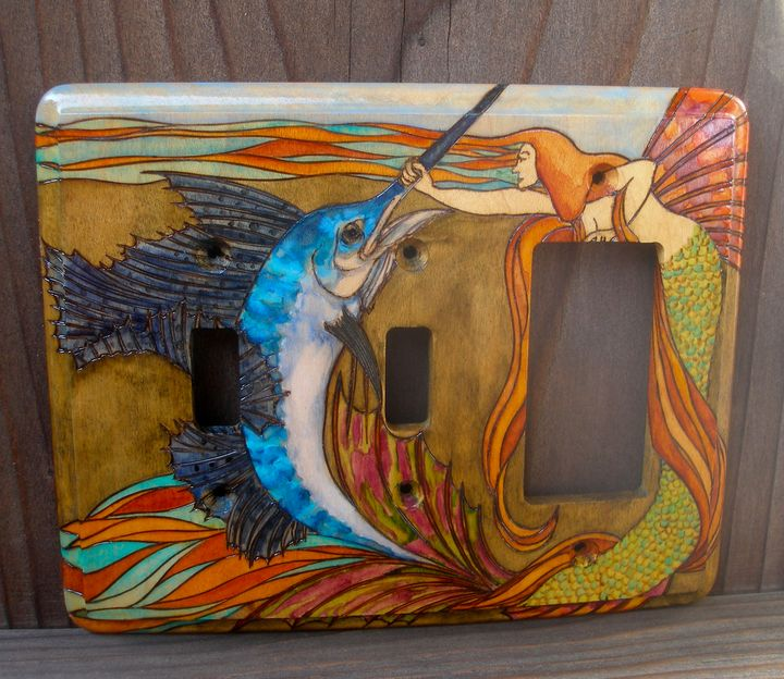 Mermaid & Sailfish wood switchplate - Tropical Classics