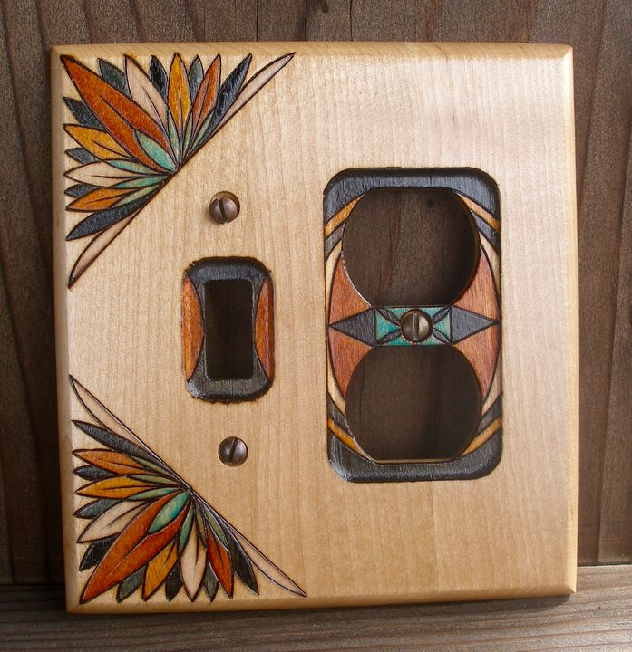 Custom Woodburned Switchplate - Tropical Classics