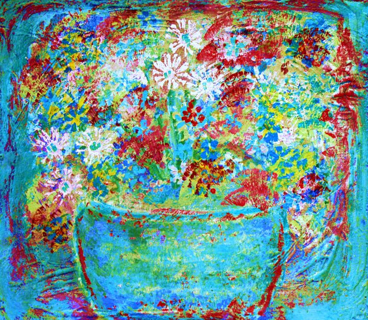 Vibrant Acrylic Red, Blue Flowers - Diana Abrahamson Art Studio