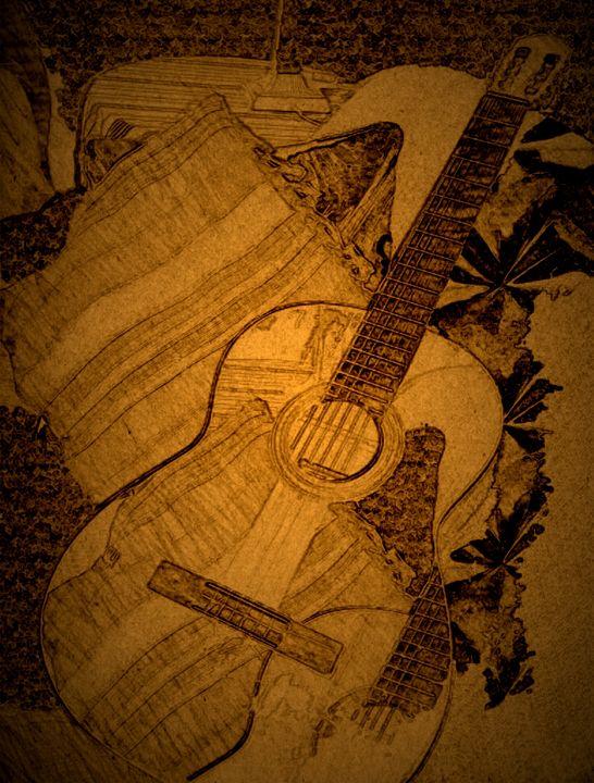 Sultry Guitar Abstract Art - Diana Abrahamson Art Studio