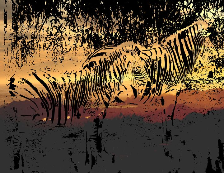 Zebra's At Dusk - Diana Abrahamson Art Studio