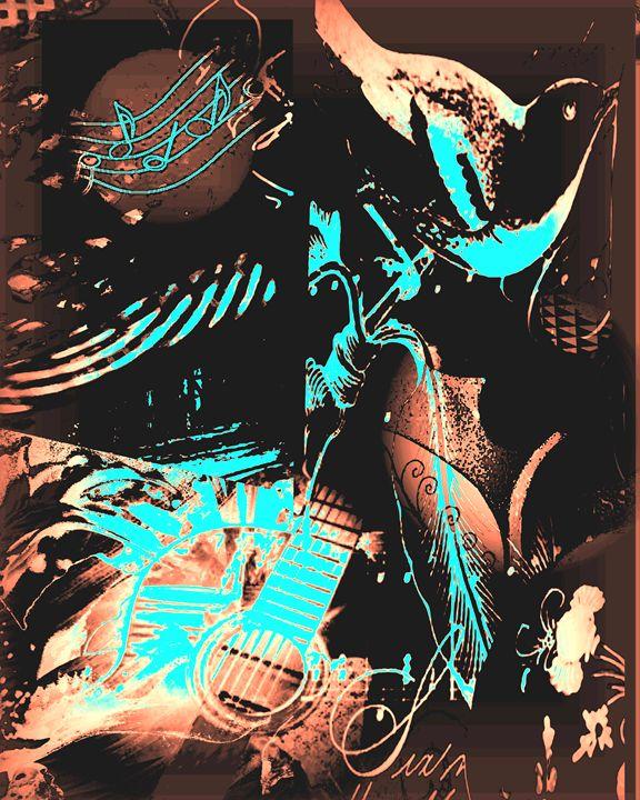 Summer Strings Bird Collage - Diana Abrahamson Art Studio