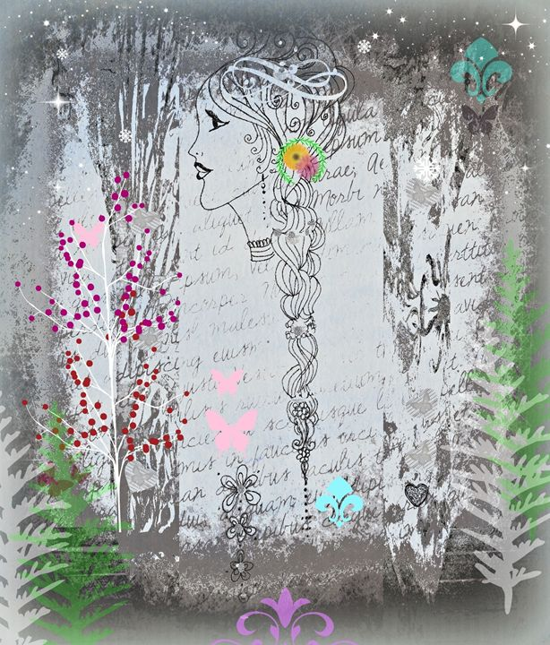 Evening Princess Mixed Media - Diana Abrahamson Art Studio