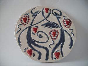 Angel And Devil Dance ceramic plate