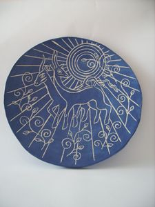 Goats ceramic ornamental plate