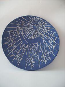 Goats ceramic ornamental plate - Elven Glaze