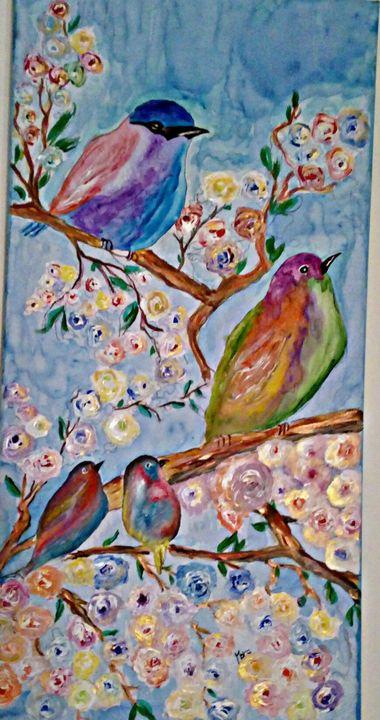 Watercryl. Birds and roses - Mara's Art