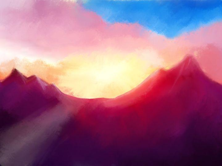 Sunset of the mountains - JaggySnake Illustration