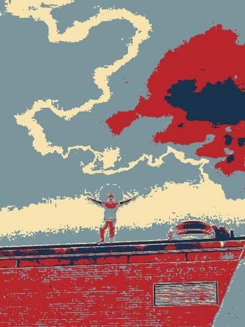 King of the World (Blue/Red) - Art By Jamie Lee Tobis