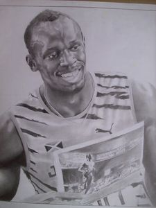 Pencil Drawing Of Usain Bolt.