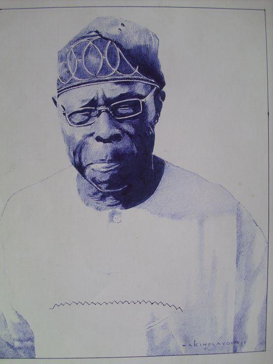 Drawing Of Chief Olusegun Obasanjo - treasuregem.artpages
