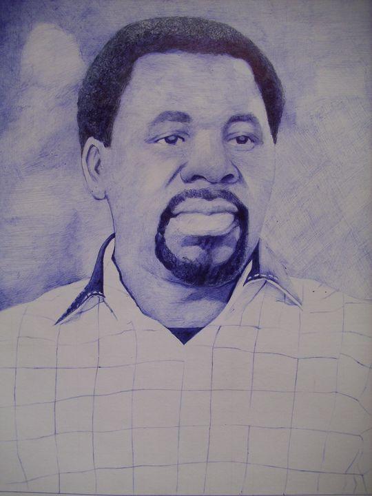 Blue Pen Drawing Of Propht TB Joshua - treasuregem.artpages