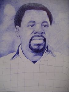 Blue Pen Drawing Of Propht TB Joshua