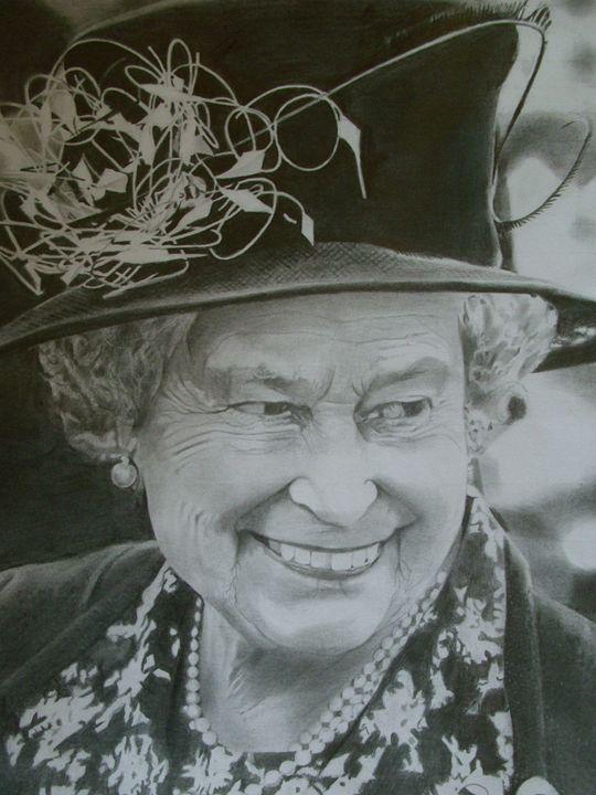 Pencil Drawing of Queen Elizabeth - treasuregem.artpages