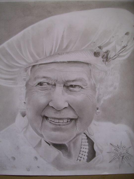 Pencil Drawing Of Queen Elizabeth II - treasuregem.artpages