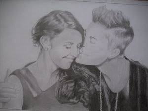 Drawing Of Justin Bieber And His Mom