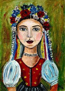 Woman in Slovak folk clothes