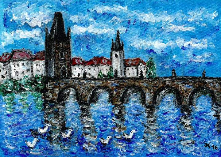 Charles Bridge and swans - Jana ART