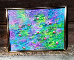 Water Lilies acrylic painting