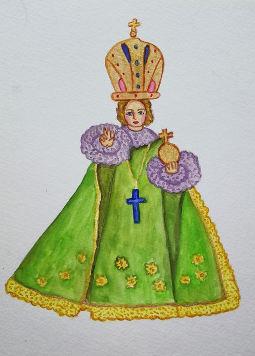 Infant Jesus - watercolor painting - Jana ART