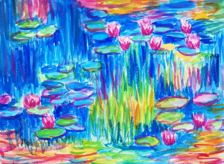 Water lilies watercolor painting - Jana ART
