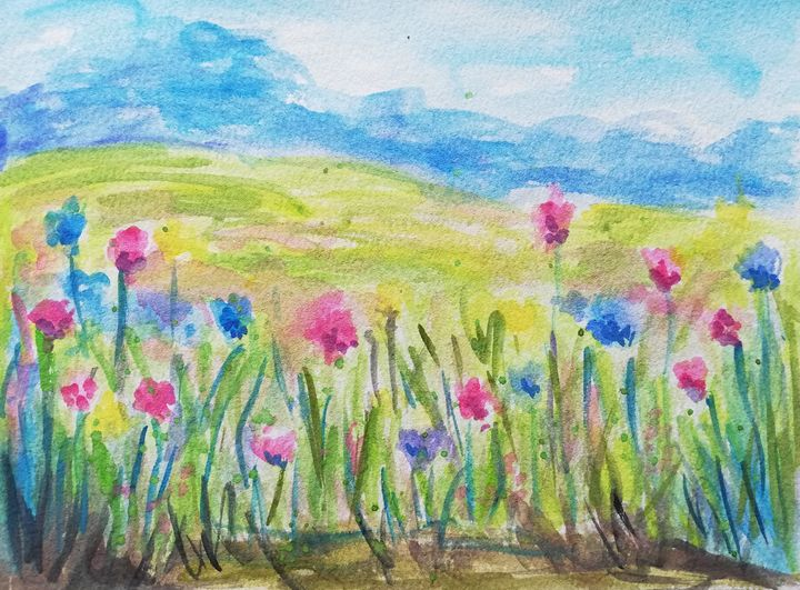 Meadow with flowers watercolor paint - Jana ART